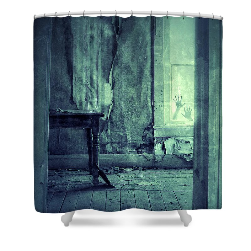 Room Shower Curtain Featuring The Photograph Hands On Window Of Creepy Old House By Jill Battaglia