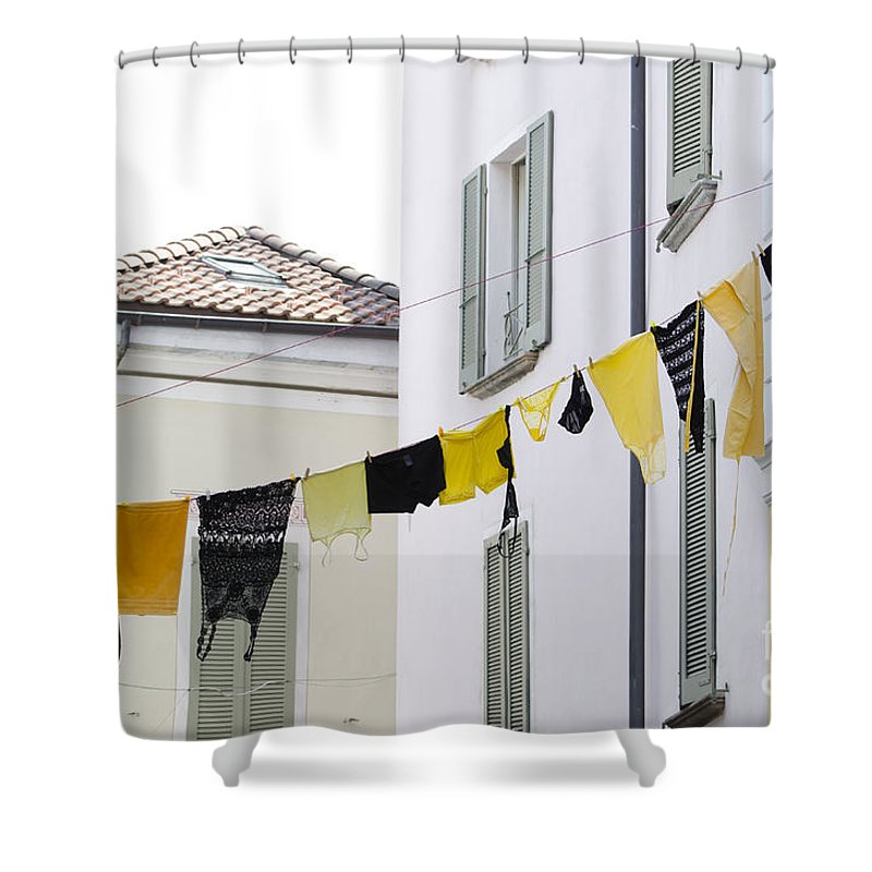 Hanging Clothes Shower Curtain featuring the photograph Hanging Clothes by Mats Silvan