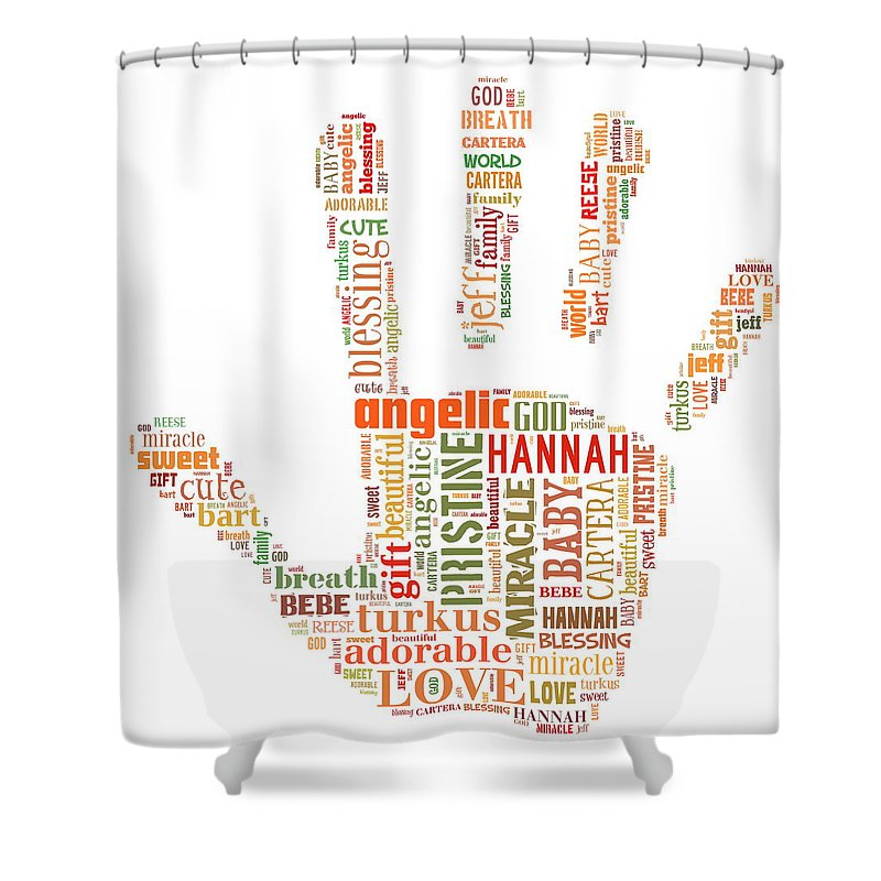 Shower Curtain featuring the painting Hannah Hand Orange by Pristine Cartera Turkus