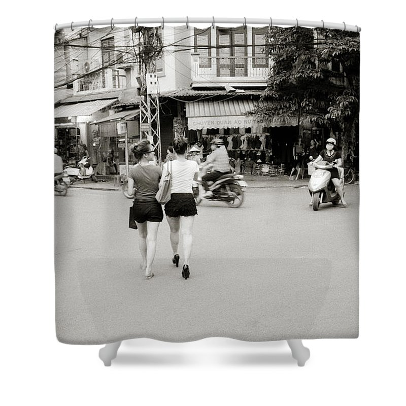 Asia Shower Curtain featuring the photograph Hanoi Girls by Shaun Higson