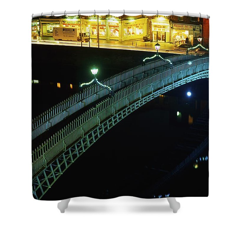 Canal Shower Curtain featuring the photograph Hapenny Bridge, Dublin City, Co Dublin by The Irish Image Collection