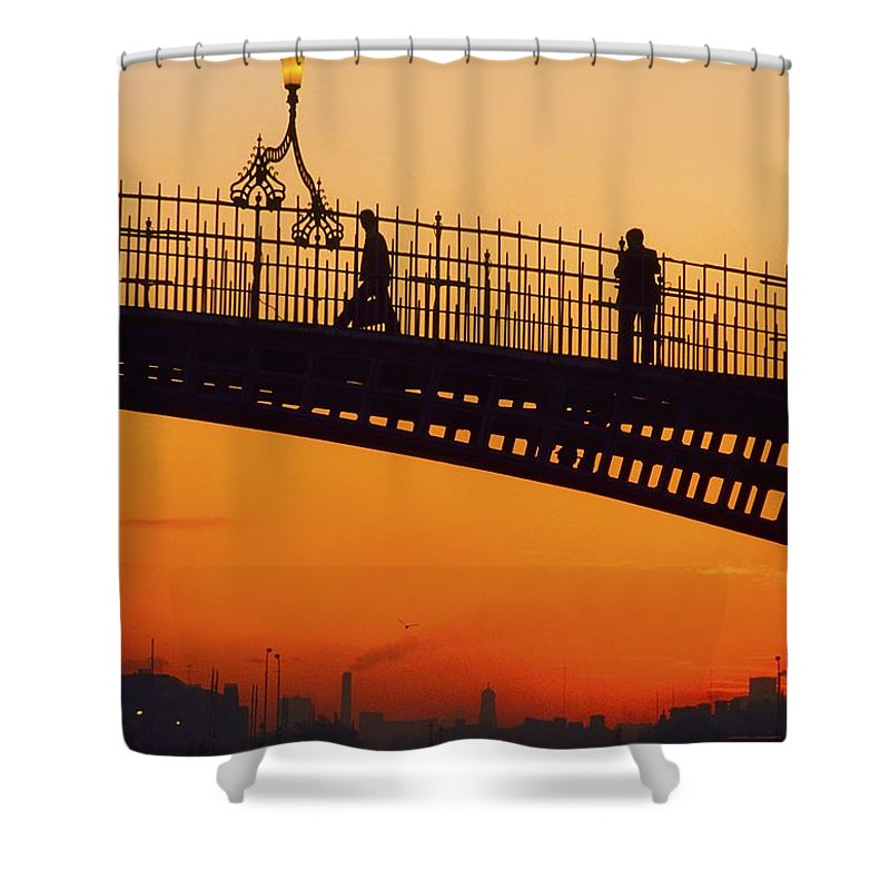 Architecture Shower Curtain featuring the photograph Hapenny Bridge, Dublin, Co Dublin by The Irish Image Collection