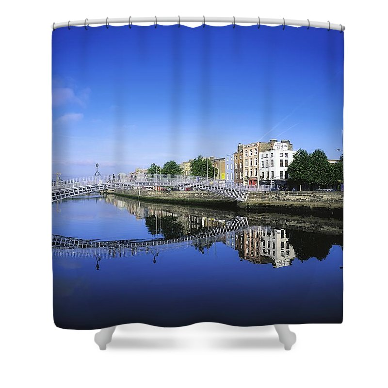 Blue Sky Shower Curtain featuring the photograph Hapenny Bridge, River Liffey, Dublin by The Irish Image Collection