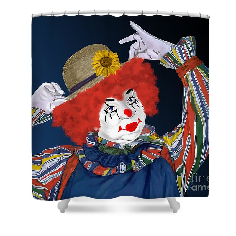 Happy Clown Shower Curtain featuring the painting Happy Clown by Methune Hively