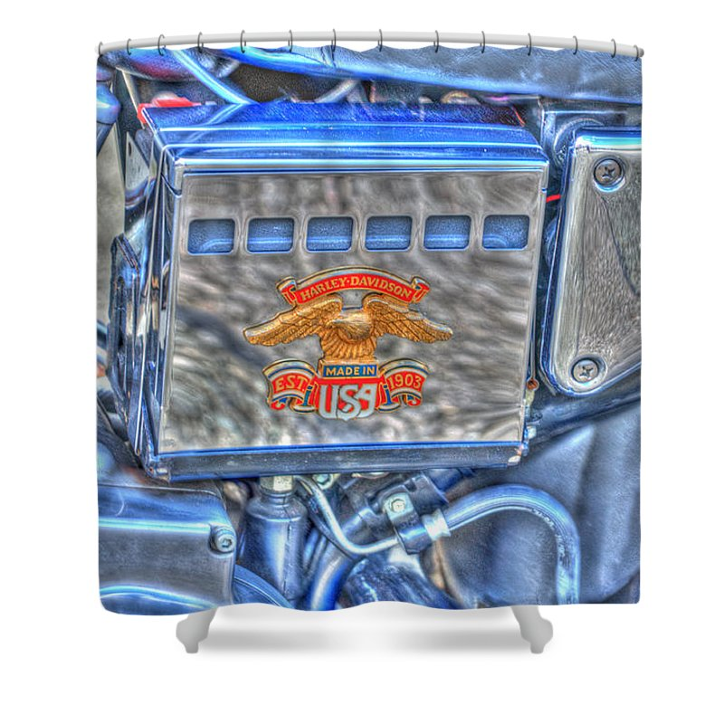 Harley Davidson Shower Curtain featuring the photograph Harley Davidson 2 by Steve Purnell
