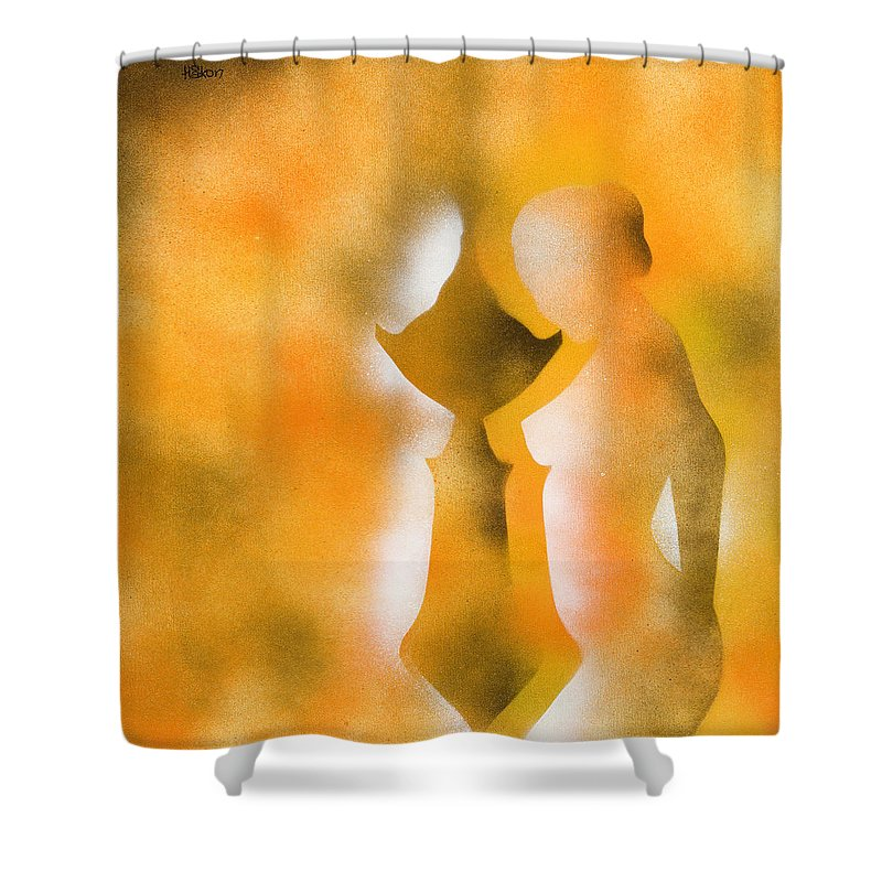 Nude Shower Curtain featuring the painting Harmony Of Three by Hakon Soreide