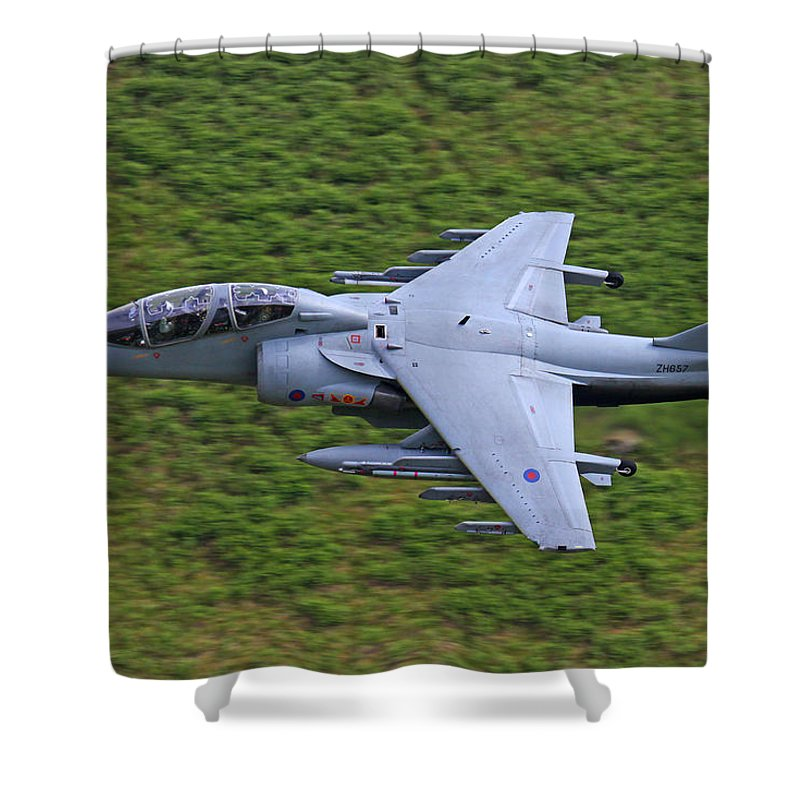Bae Shower Curtain featuring the photograph Harrier Low Level by Ken Brannen