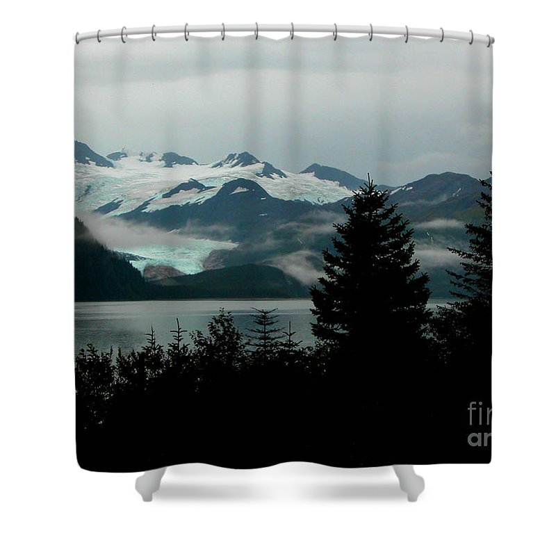 Black Shower Curtain featuring the photograph Harriman Glacier by Peggy Starks