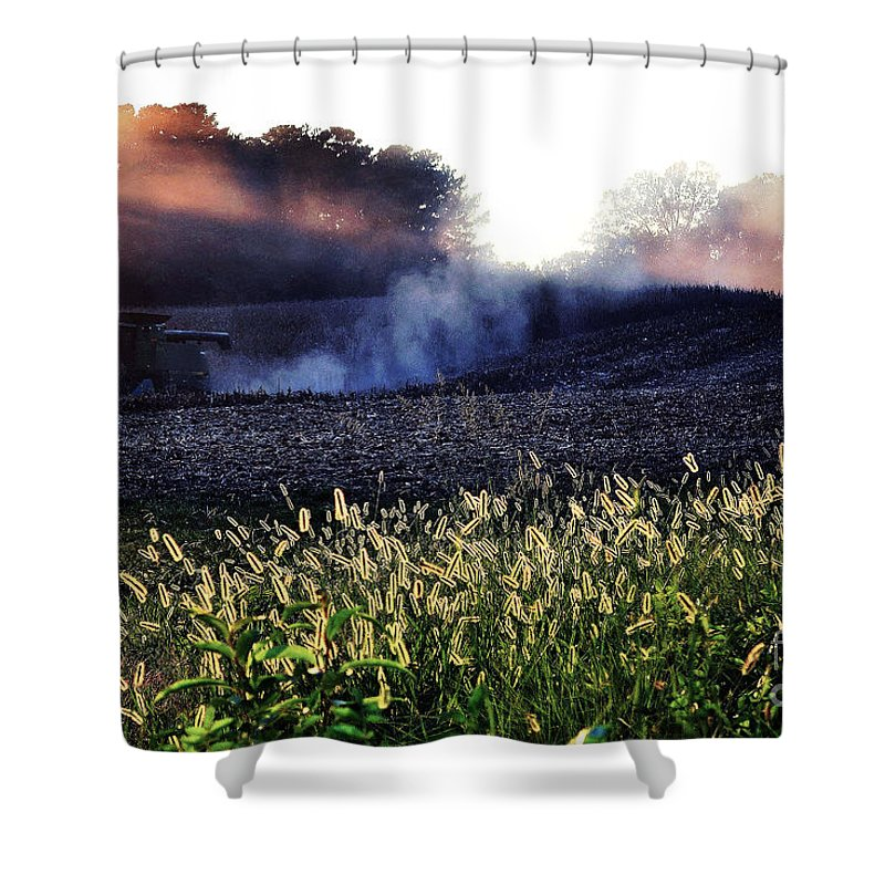 Harvest Shower Curtain featuring the photograph Harvesting by Melanie Kirdasi