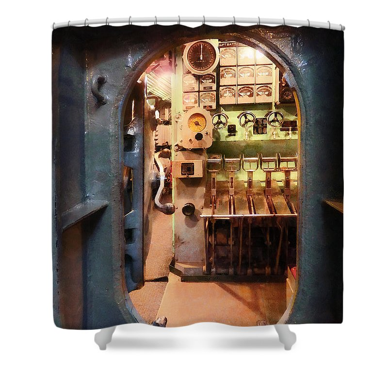 Hatch Shower Curtain featuring the photograph Hatch In Submarine by Susan Savad