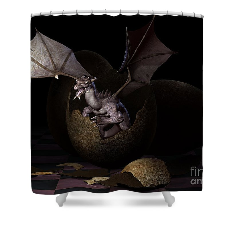 3d Shower Curtain featuring the digital art Hatching Dragons by Alexander Butler