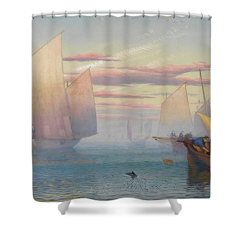 Hauling In The Nets (w/c Heightened With Bodycolor)seascape; Fishing Boats; Fishing Boats; Fishermen; Net; Sea; Seascape Shower Curtain featuring the painting Hauling In The Nets by JB Pyne