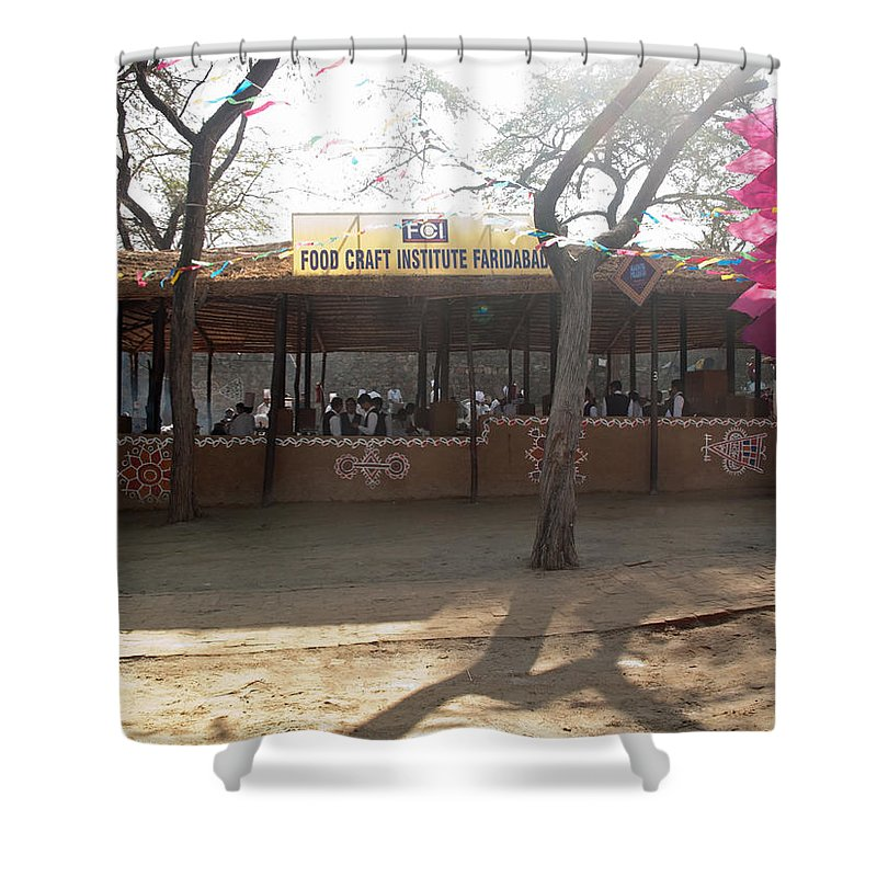 People Shower Curtain featuring the photograph Having A Good Time When Preparing Food In A Booth In The Surajkand Mela by Ashish Agarwal