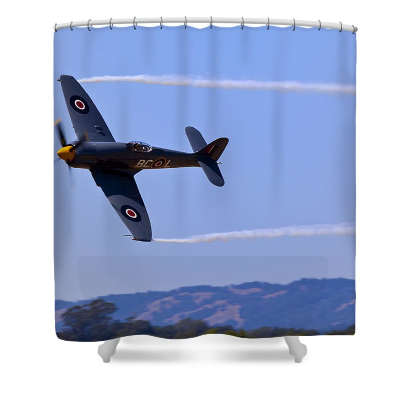 Hawker Sea Fury Shower Curtain featuring the photograph Hawker Sea Fury by Garry Gay