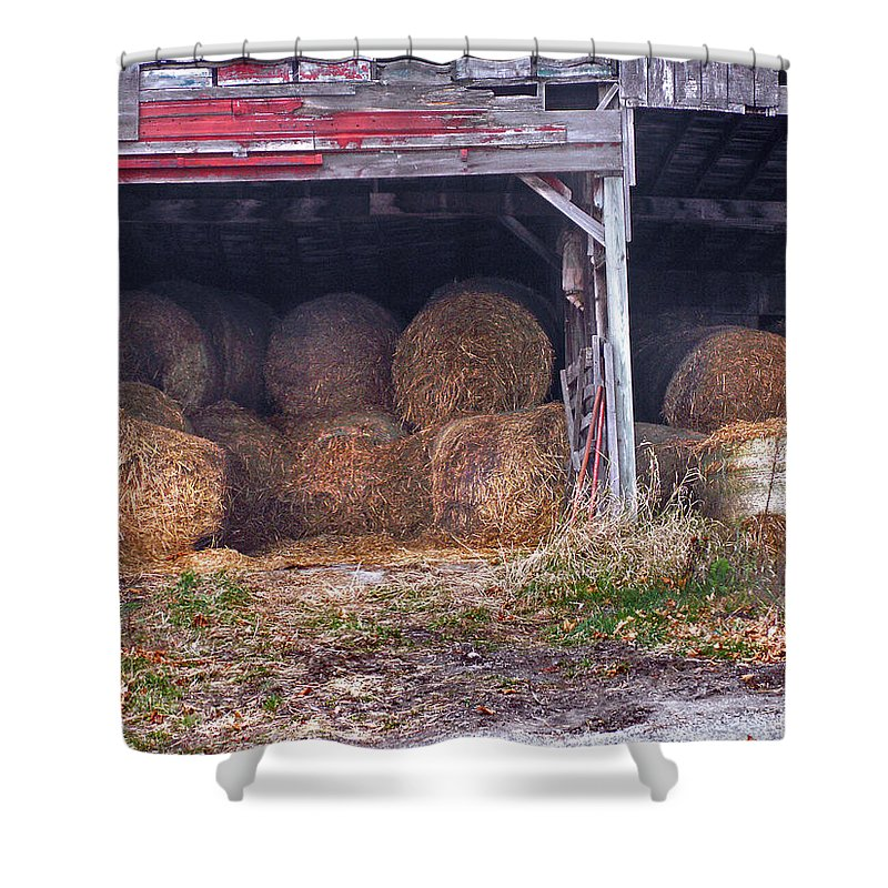 Vermont Shower Curtain featuring the photograph Hay Bales by Nancy Griswold