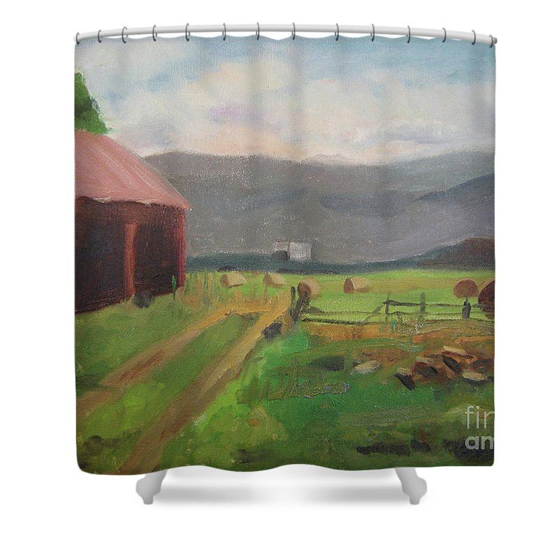 Colorado Shower Curtain featuring the painting Hay Day Farm by Lilibeth Andre