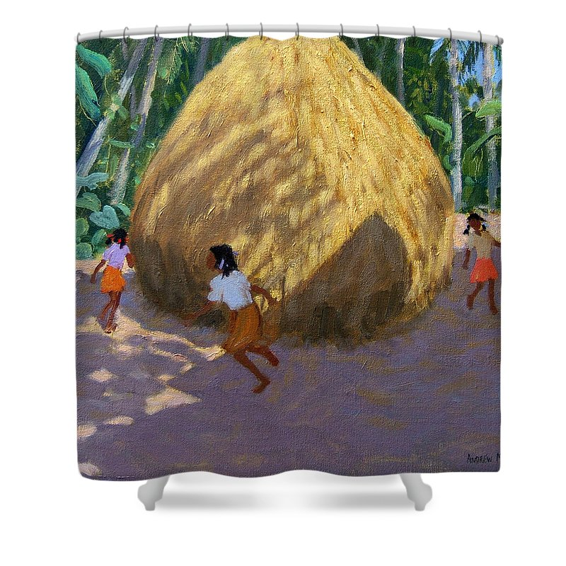 Indian Landscape Shower Curtain featuring the painting Haystack by Andrew Macara