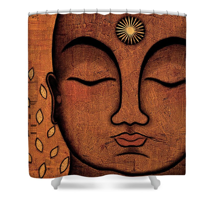 Buddha Shower Curtain featuring the painting He Knows by Gloria Rothrock