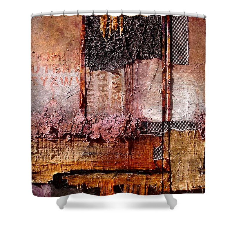 Collage Shower Curtain featuring the painting Headlines by Carol Nelson