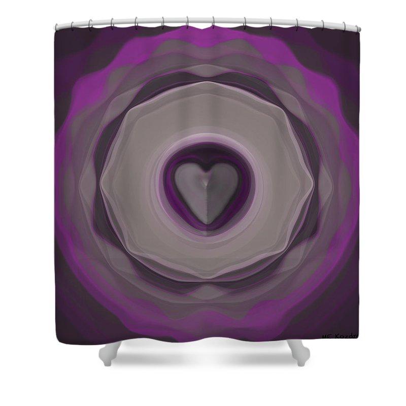 Black Shower Curtain featuring the digital art Heart Wheel by ME Kozdron