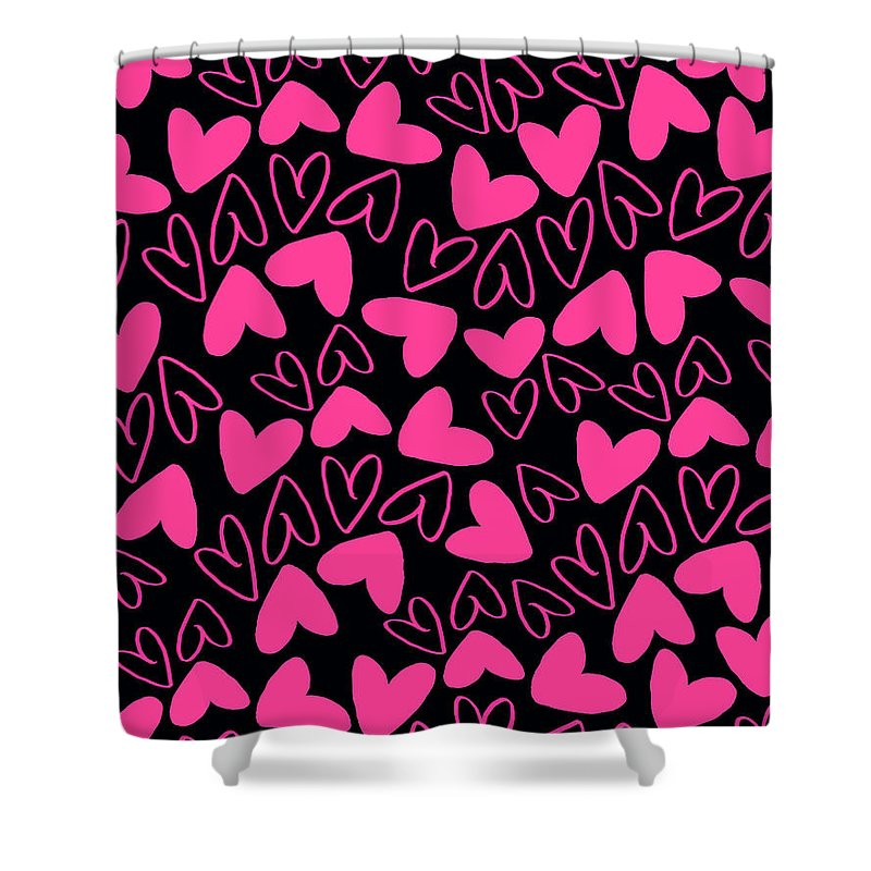 Heart Shower Curtain featuring the digital art Hearts by Louisa Knight