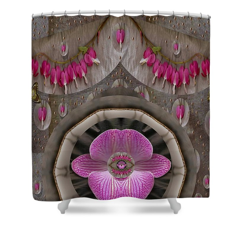 Landscape Shower Curtain featuring the mixed media Heavenly Peace And A Roof Of Love by Pepita Selles