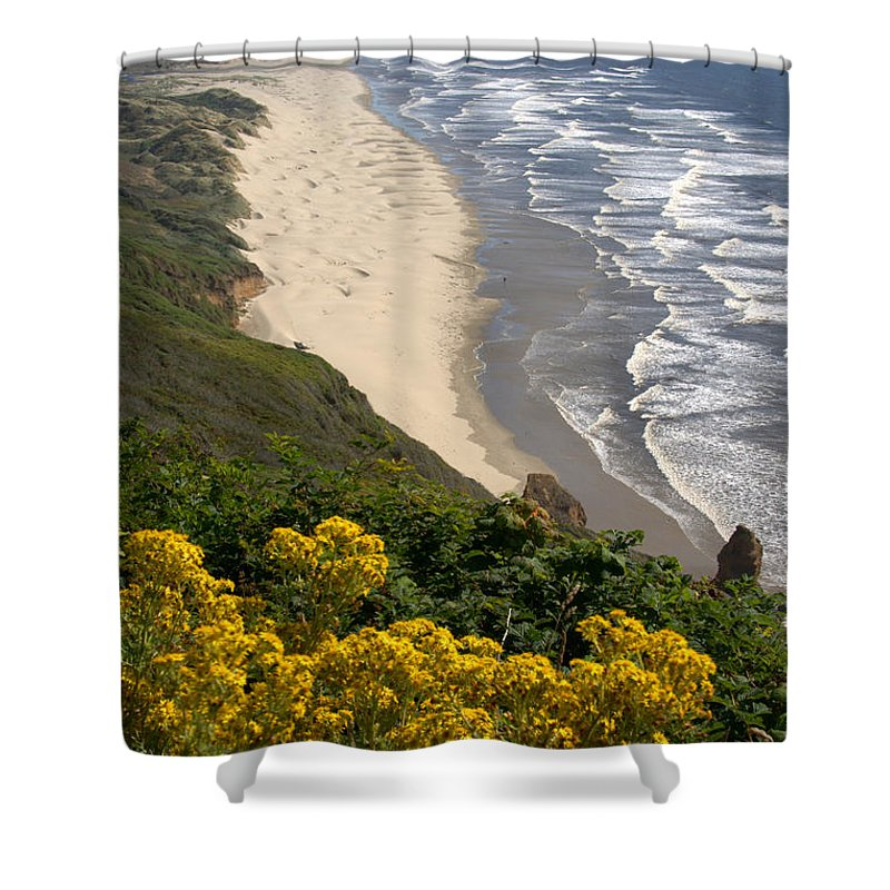 Heceta Beach Shower Curtain featuring the photograph Heceta Beach View by Mick Anderson