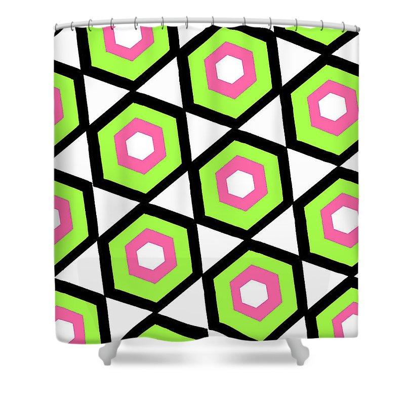 Louisa Shower Curtain featuring the digital art Hexagon by Louisa Knight