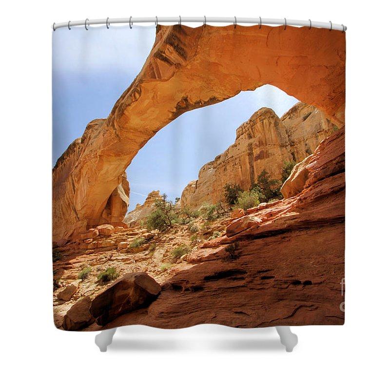 Hickman Bridge Shower Curtain featuring the photograph Hickman Bridge by Adam Jewell