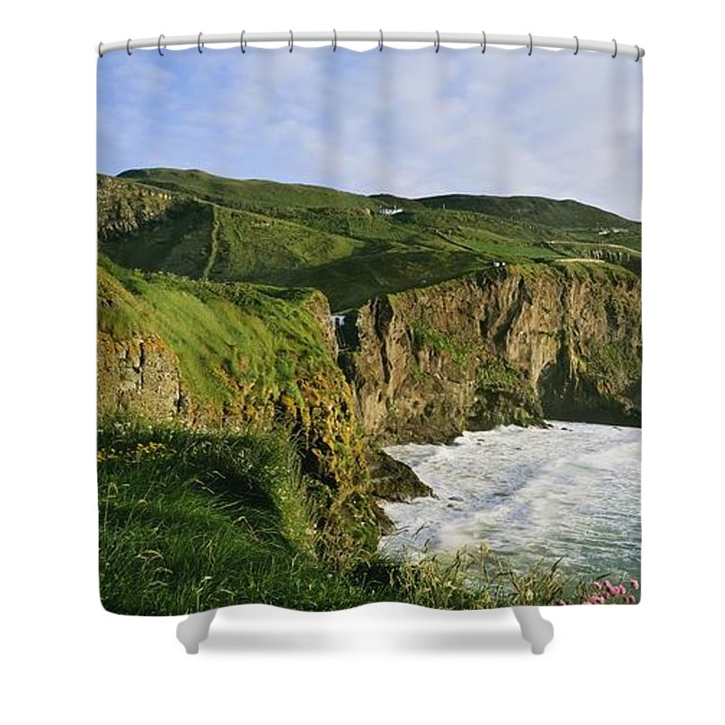 Cloud Shower Curtain featuring the photograph High Angle View Of A Coast, County by The Irish Image Collection