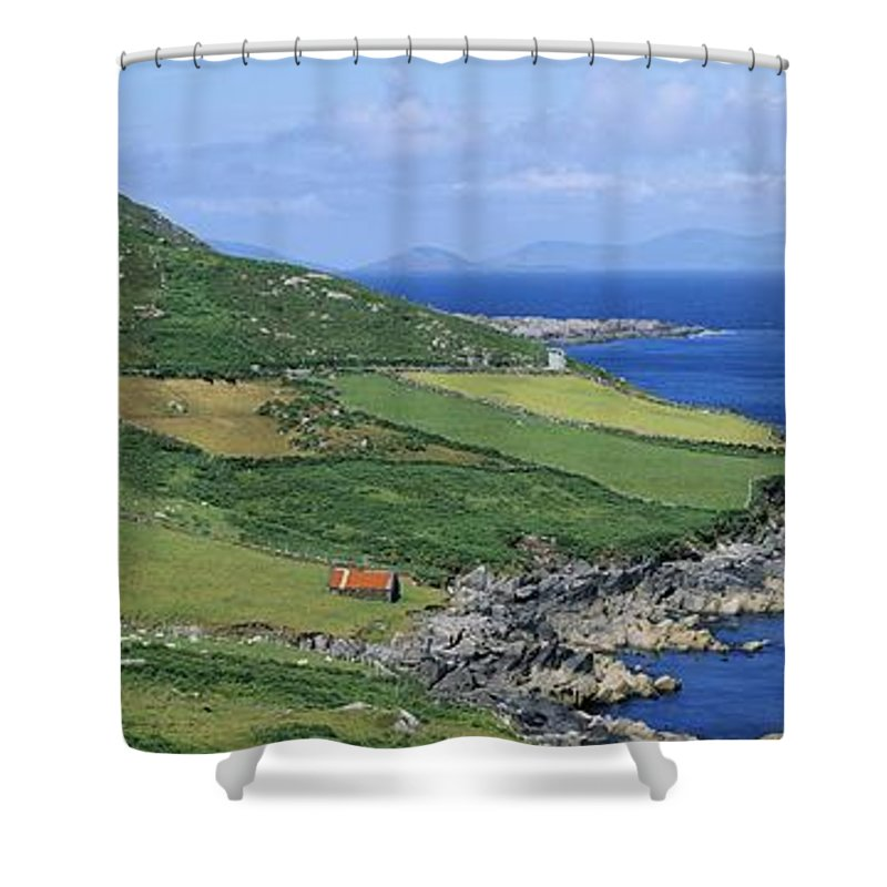 Beara Peninsula Shower Curtain featuring the photograph High Angle View Of A Coastline, Beara by The Irish Image Collection