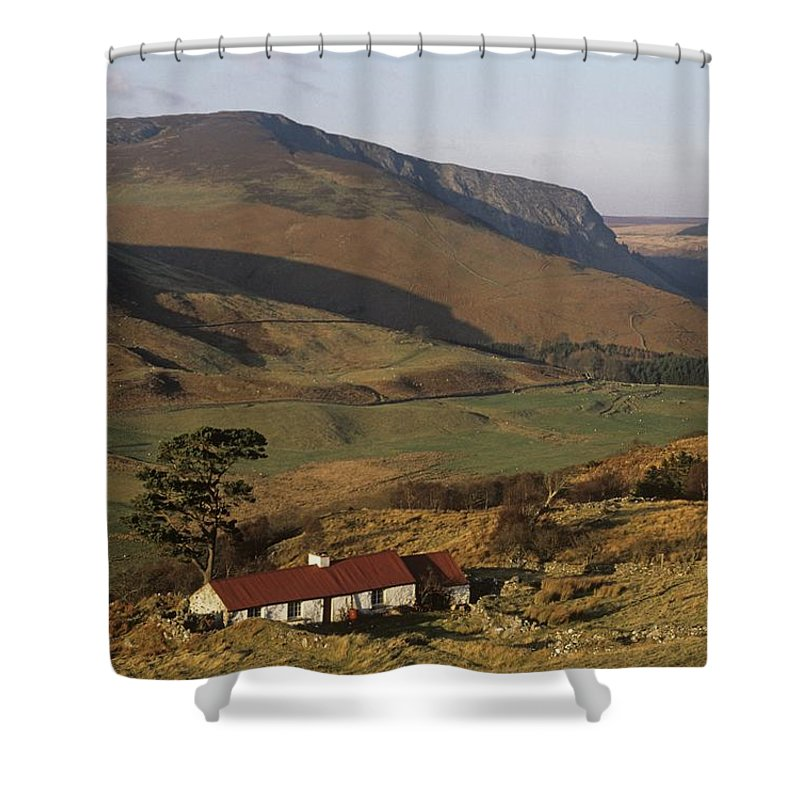 Building Exterior Shower Curtain featuring the photograph High Angle View Of A House, County by The Irish Image Collection