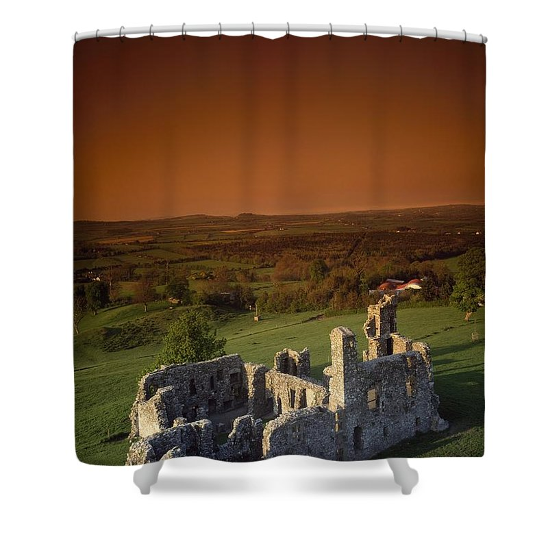 Ancient Shower Curtain featuring the photograph High Angle View Of An Old Ruin,with by The Irish Image Collection