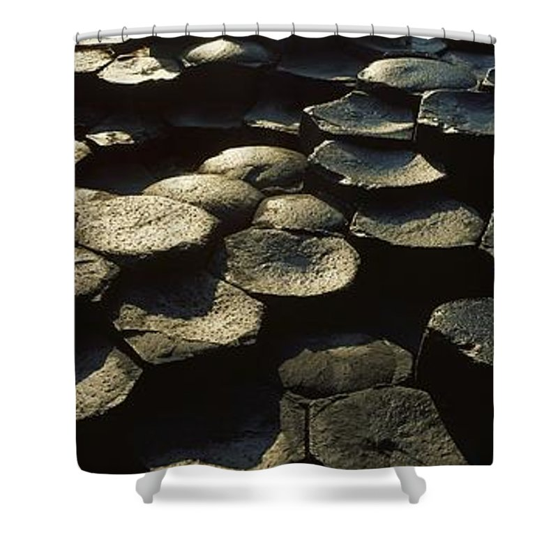 Basalt Shower Curtain featuring the photograph High Angle View Of Basalt Rocks, Giants by The Irish Image Collection