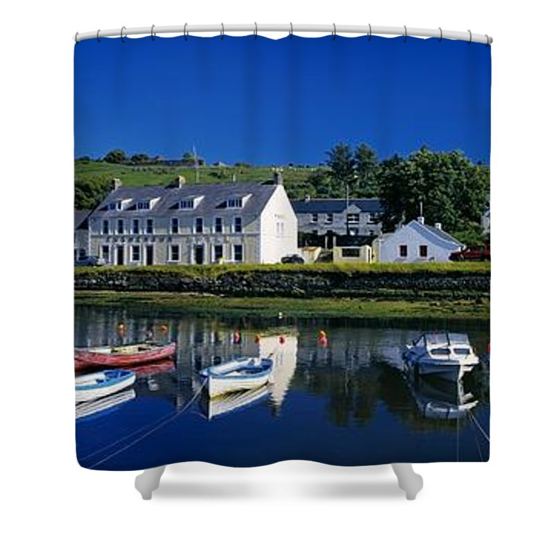 Architecture Shower Curtain featuring the photograph High Angle View Of Boats Moored At A by The Irish Image Collection