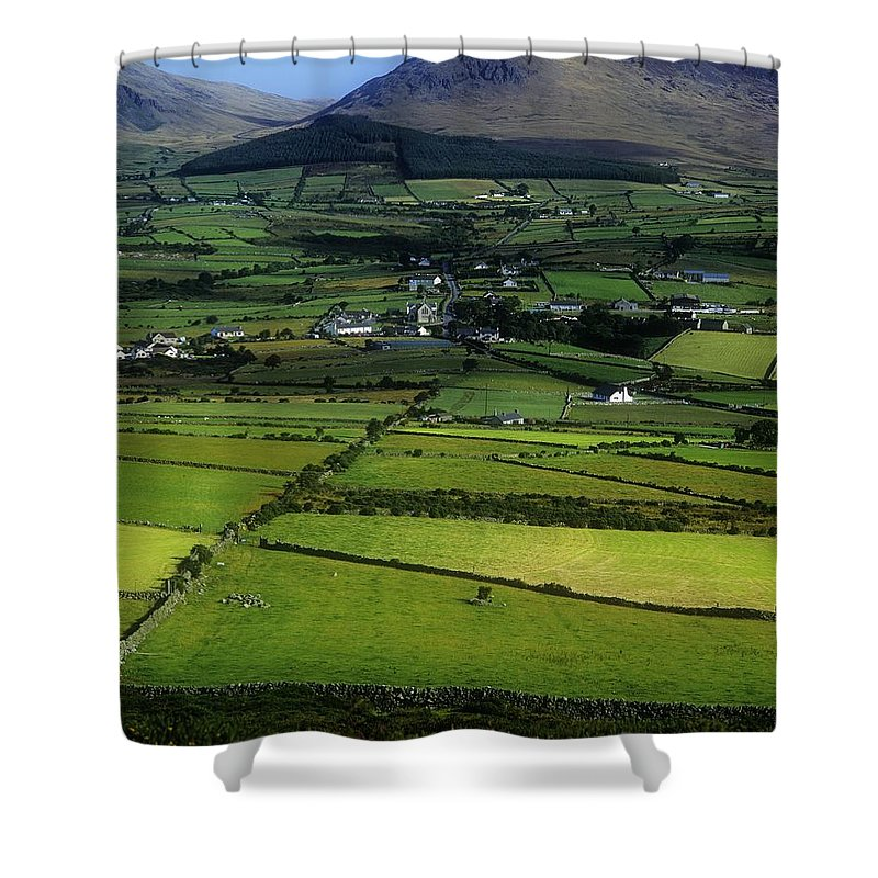 Building Exterior Shower Curtain featuring the photograph High Angle View Of Buildings In A by The Irish Image Collection
