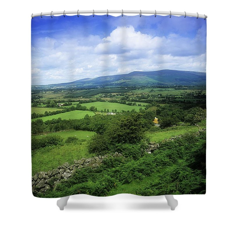 Co Wicklow Shower Curtain featuring the photograph High Angle View Of Fields On A by The Irish Image Collection