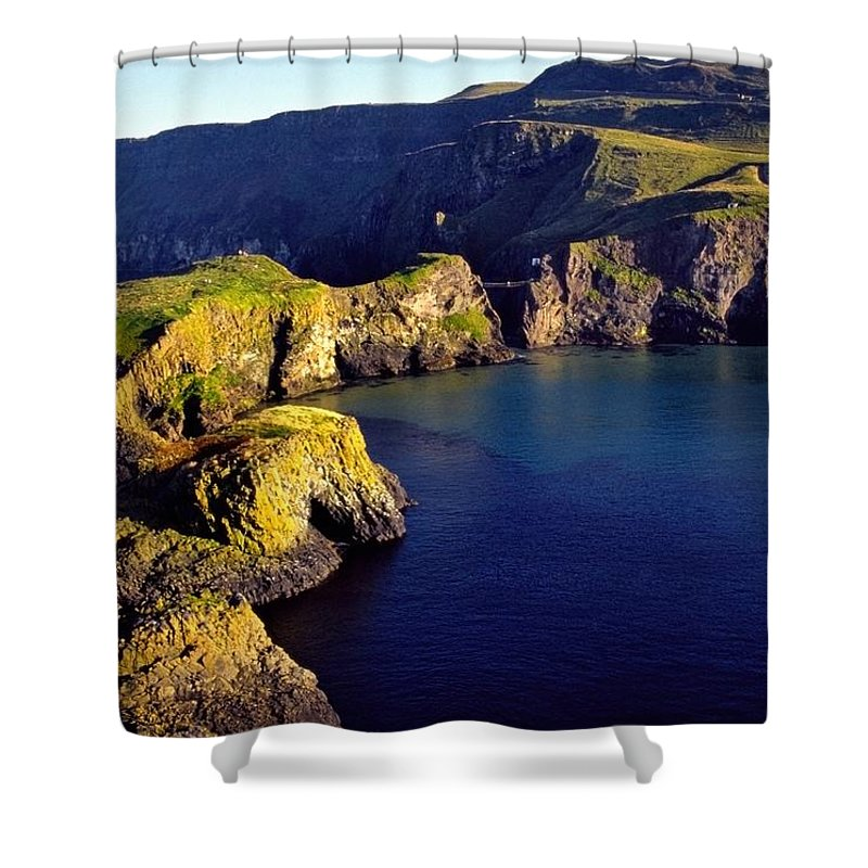 Atlantic Ocean Shower Curtain featuring the photograph High Angle View Of Rock Formations In by The Irish Image Collection