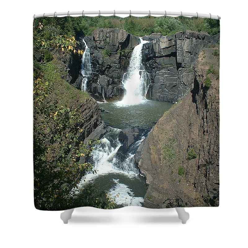 Waterfall Shower Curtain featuring the photograph High Falls Grand Portage by Bonfire Photography