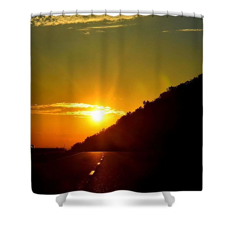 Highway Shower Curtain featuring the photograph Highway Sunrise 2 by Maria Urso