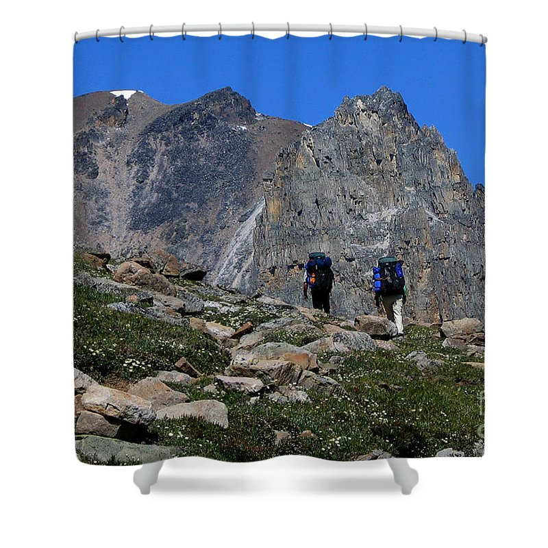 Hikers Shower Curtain featuring the photograph Hiking In Jasper by Vivian Christopher