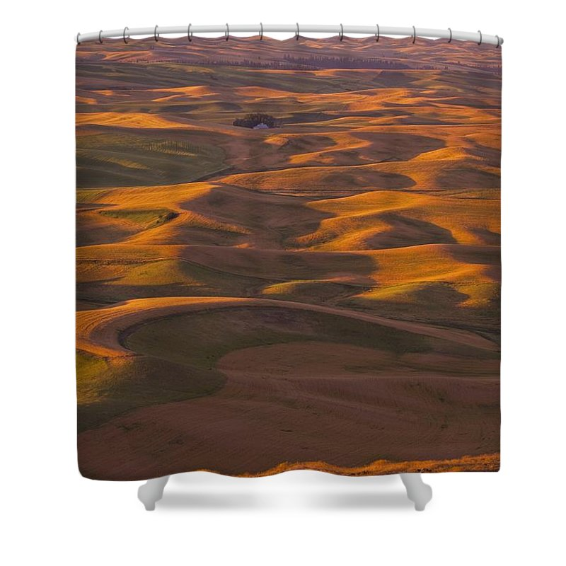 Sunset Shower Curtain featuring the photograph Hilly Landscape by Craig Tuttle