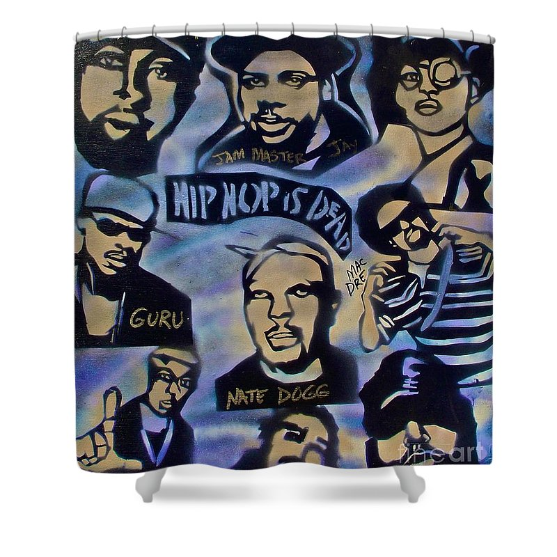 Hip Hop Shower Curtain featuring the painting Hip Hop Is Dead #1 by Tony B Conscious