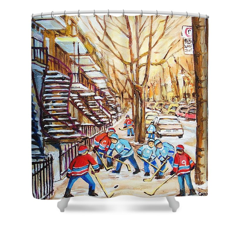 Montreal Shower Curtain featuring the painting Hockey Game Near Winding Staircases by Carole Spandau