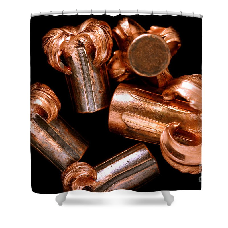 Bullet Shower Curtain featuring the photograph Hollow Point Bullets by Ted Kinsman