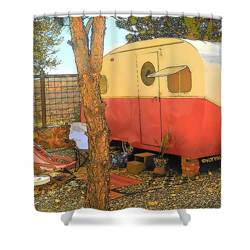 Little Red Vintage Camper - Home Sweet Home Shower Curtain