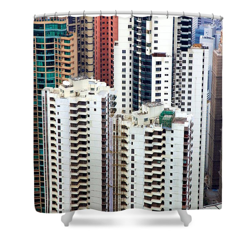 Cityscape Shower Curtain featuring the photograph Hong Kong View by Valentino Visentini