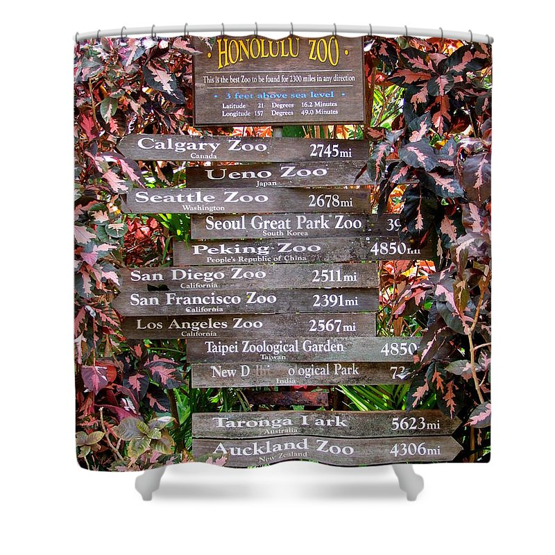 Honolulu Zoo Shower Curtain featuring the photograph Honolulu Zoo Signs by Mary Deal