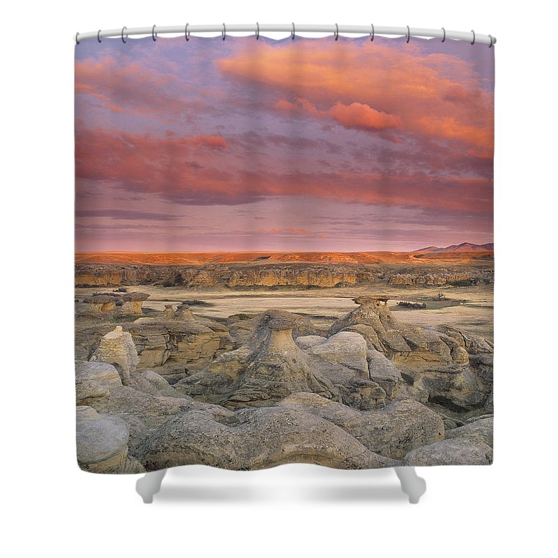 Light Shower Curtain featuring the photograph Hoodoos, Milk River Badlands, Writing by Darwin Wiggett