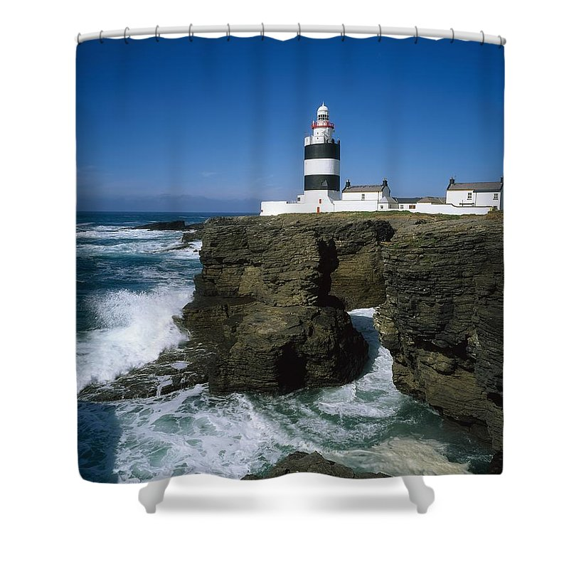 Black & White Shower Curtain featuring the photograph Hook Head Lighthouse, Co Wexford by The Irish Image Collection